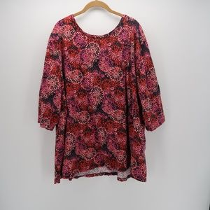 Catherines Floral 3/4 Sleeve Blouse Size 3X